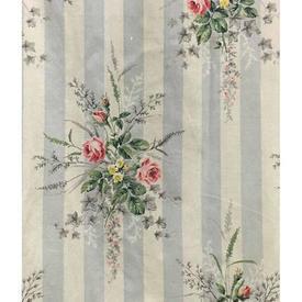 "Pair Drapes 3'6"" x 6' Sky Floral Bouquets Stripe Sateen"