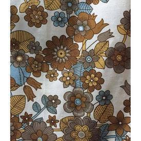 "Pair Drapes 3'9"" x 4' Tan / Grey Moygashel Hintock Floral Polycotton"