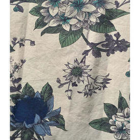 "Pair Drapes 3'6"" x 10' Off-White / Navy Large Floral Branches Sateen"