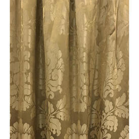 "Pair Drapes 3'6"" x 6' Gold Floral Damask"