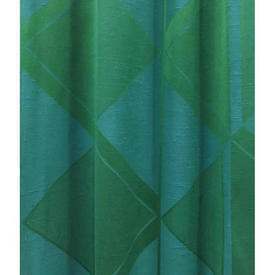 "Pair Drapes 3'7"" x 3'6"" Emerald / Turquoise Large Diamonds Silky Dupion"