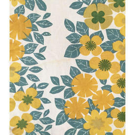 "Pair Drapes 3'9"" x 8' Yellow / Turquoise Heal's Banbury Floral Print"