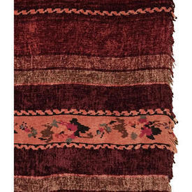 "Pair Drapes 4'1"" x 3'3"" Burgundy Floral Stripe Banded Chenille"