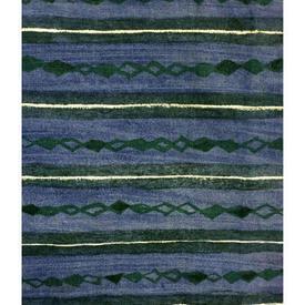"Pair Drapes 3'9"" x 6' Blue Heal's Lamina Faded Horiz. Stripe Print"