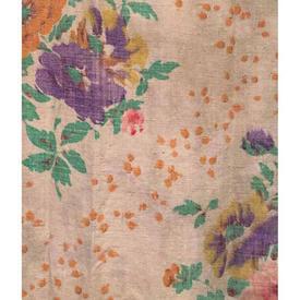 """Pair Drapes 3'9"""" x 2'6"""" Pale Orange Floral Print Cotton"""