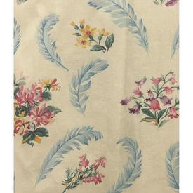 "Pair Drapes 3'9"" x 4' Cream Floral & Feather Print"