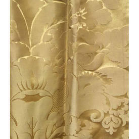 """Pair Drapes 3'9"""" x 3'10"""" Yellow Large Floral Silky Damask"""