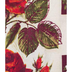 "Pair Drapes 3'9"" x 3'8"" Reds Maroon / Maroon Large Roses Barkcloth"