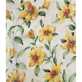 """Pair Drapes 3'8"""" x 3'9"""" Yellow Floral Barkcloth"""