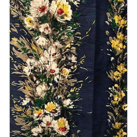Pair Drapes 4' x 4' Navy Floral Stripe