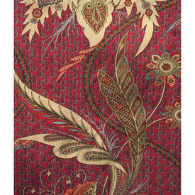 Pair Drapes 4' x 6' Maroon Warners Suhana Floral Paisley Chintz