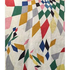 "Pair Drapes 4' x 2'6"" Multi Edinburgh Weavers Punchinello (1960) Geo Print"