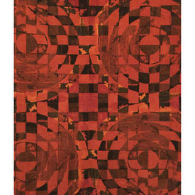 Pair Drapes 4' x 6' Burnt Moygashel Cicero Circles Print