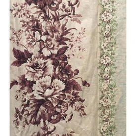 Pair Drapes 4' x 4' Mint / Brown Faded Floral Stripe Chintz