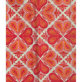 "Pair Drapes 4' x 3'8"" Red Psychedelic Geo Polycotton"
