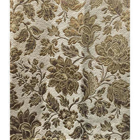 "Pair Drapes 4'3"" x 4' Beige Floral Brocade"