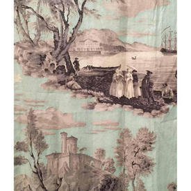 "Pair Drapes 4'3"" x 4' Aqua Figures & Scenic Fine Chintz"