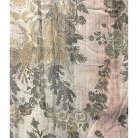 "Pair Drapes 4'3"" x 6' Rose / Grey Floral Stripe Fine Chintz"