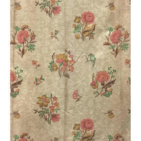 "Pair Drapes 4'3"" x 2'6"" Dark Cream / Salmon Faded Floral"