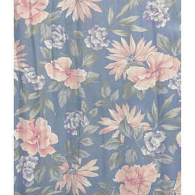 "Pair Drapes 4'3"" x 6' Blue Floral Sateen"