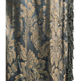 "Pair Drapes 4'3"" x 4' Airforce Floral Damask"