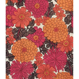 "Pair Drapes 4'3"" x 4' Magenta / Orange Small Floral Print Nylon"