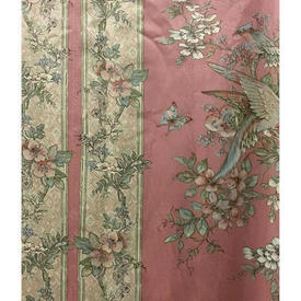 "Pair Drapes 4'3"" x 8' Rose Large Floral & Bird Stripe Sateen"