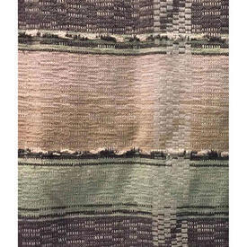 "Pair Drapes 4'3"" x 3' Beige / Charcoal/Mint Horiz. Stripe Heavy Weave"