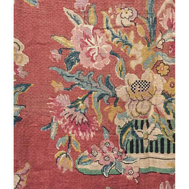 "Pair Drapes 4'3"" x 3'8"" Apricot Chinoiserie Floral Vases Linen"