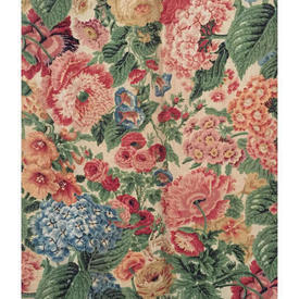 """Pair Drapes 4'6"""" x 6' Emerald / Red Jonelle Clandon Floral Linen"""