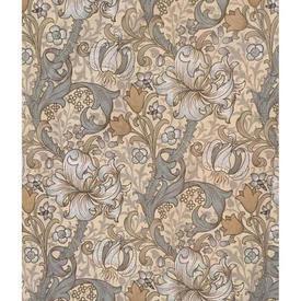"Pair Drapes 4'6"" x 6' Grey Sanderson Golden Lily Floral"