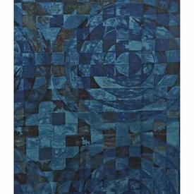 "Pair Drapes 4'9"" x 6' Navy Moygashel Cicero Circles Print"