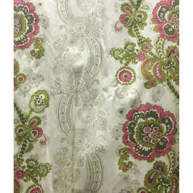 "Pair Drapes 4'9"" x 4' Lime Floral Paisley Stripe Sateen"