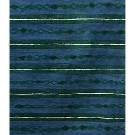 "Pair Drapes 4'9"" x 6' Cerulean Heal's Lamina Horiz. Stripe Print"