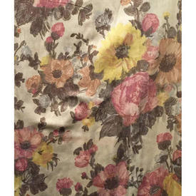 "Pair Drapes 4'9"" x 6' Brown / Dusky Large Floral Sateen"