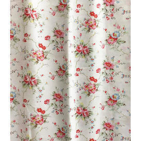 "Pair Drapes 4'10"" x 5' Off-White / Red Small Floral Sprays Cotton"