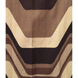 "Pair Drapes 4'9"" x 4' Brown Geo Wave Stripe Cotton"