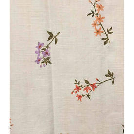 "Pair Drapes 4'9"" x 4'6"" Cream / Salmon Floral Print Slub Cotton"