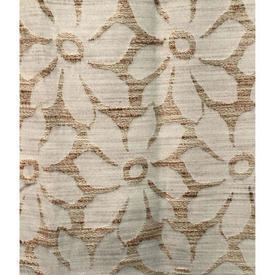 "Pair Drapes 4'9"" x 4' Beige Large Flowers Slub Weave"
