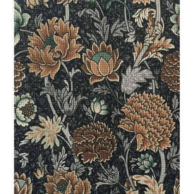 "Pair Drapes 4'8"" x 4' Charcoal Large Floral Polyester"