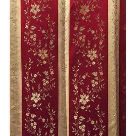 Pair Drapes 5' x 8' Maroon Regency Stripe Brocade