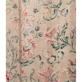 Pair Drapes 5' x 4' Cream / Red/Green Faded Floral Linen