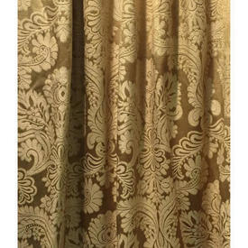 "Pair Drapes 5' x 3'8"" Gold Floral Damask"