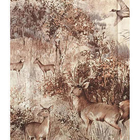 """Pair Drapes 5'1"""" x 3'9"""" Deer in Forest Sateen"""