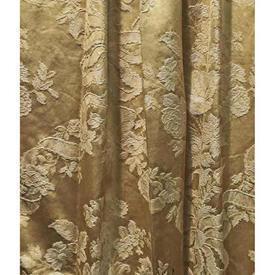 "Pair Drapes 5' x 6'5"" Gold Large Geo Floral & Ribbons Silk Damask"