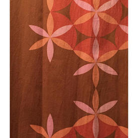 "Pair Drapes 5'3"" x 4' Chestnut Heal's Daisy Chain Large Geo Floral"