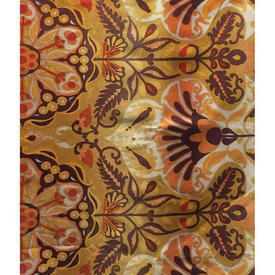 "Pair Drapes 5'3"" x 4' Mustard Psychedelic Large Floral Repp"