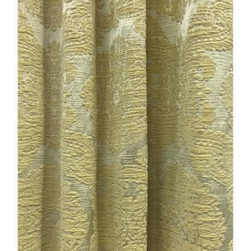 "Pair Drapes 5'3"" x 8' Lemon Floral Damask"