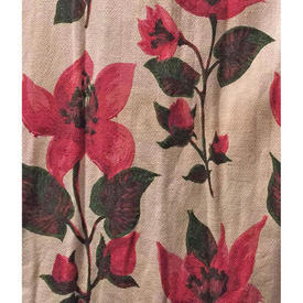 "Pair Drapes 5'3"" x 3' Magenta Large Abstract Floral Barkcloth"