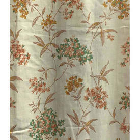 "Pair Drapes 5'3"" x 3' Cream / Tan/Green Small Floral & Leaf Print"
